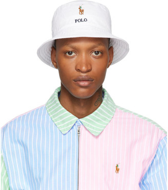Polo Ralph Lauren White Stretch Cotton Bucket Hat