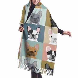 Rcivdkem French Bulldog Dog Casual And Formal Scarves Soft Cashmere Pashmina Shawl Wrap for Women Girls