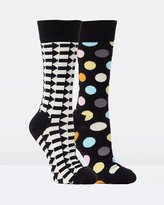 Happy Socks 2-Pack Big Dot Direction Socks
