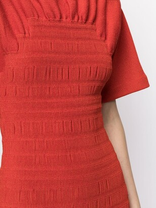 Proenza Schouler Smocked Knitted Midi Dress