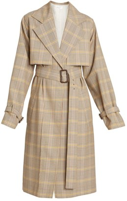 Victoria Beckham Plaid Wool Trench Coat