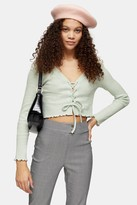 Topshop Womens Petite Mint Ribbed Lace Up Cardigan - Mint