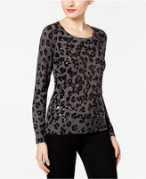 INC International Concepts Petite Sequined Animal-Print Sweater, Only at Macy's