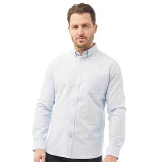 Onfire Mens Stretch Cotton Oxford Long Sleeve Shirt Light Blue