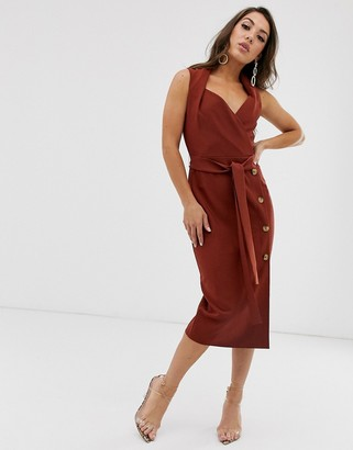 ASOS DESIGN shawl collar tie front midi dress with button skirt