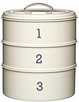 Kitchen Craft Living Nostalgia 3-Tier Metal Cake Storage Tin, 22 x 27 cm (8.5 x 10.5 Inches) - Antique Cream