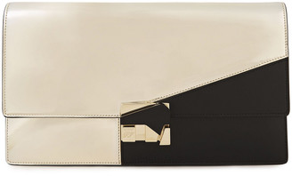 Roger Vivier Two-tone Smooth And Mirrored-leather Clutch