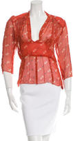 Anna Sui Silk Printed Top w/ Tags