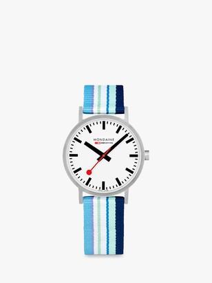 Mondaine A660.30360.16SBP Unisex SBB Classic Fabric Strap Watch, Blue Multi/White