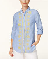 Charter Club Embroidered Linen Shirt, Created for Macy's