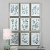 The Well Appointed House Set of Nine Herb Garden Prints Under Glass Wall Art