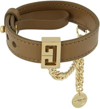Givenchy Leather Bracelet W/ Chain