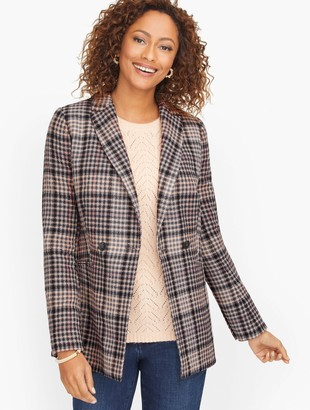 Talbots Double Breasted Bradwell Plaid Blazer