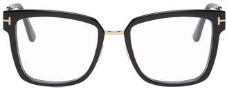 Tom Ford Black and Gold Metal Bridge Square Glasses