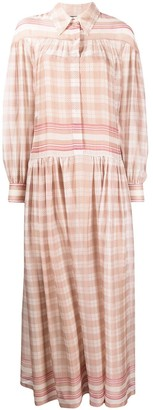 Alberta Ferretti Check Print Maxi Shirt Dress