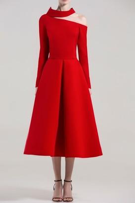 Saiid Kobeisy Cold Shoulder Long Sleeve Midi Dress