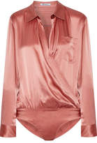 Alexander Wang Wrap-effect Silk-charmeuse Bodysuit - Antique rose