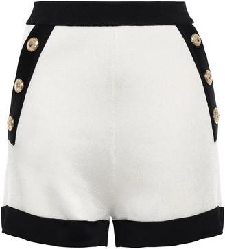 Balmain Buton-detailed Two-tone Stretch-knit Shorts