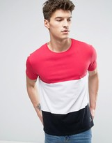 Solid T-Shirt With Color Block In Cut & Sew