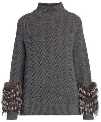 Agnona Fox Fur-Cuff Cashmere Herringbone Turtleneck Sweater