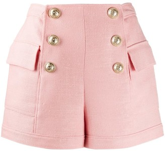 Balmain Embossed Buttons High-Waisted Shorts