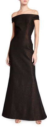 Rickie Freeman For Teri Jon Off-the-Shoulder Metallic Stretch Jacquard Sheath Gown