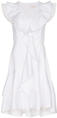 Peter Pilotto V Neck Ruffle Detail Cotton Dress