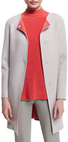 Armani Collezioni Snap-Front Long Wool/Cashmere Coat, Silver Gray