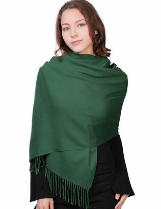 Jeff & Aimy Womens Warm Cozy Cashmere Feel Winter Scarf for Women Soft Woven Scarves Solid Color Olive