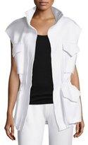 Norma Kamali Sleeveless Cargo-Pocket Sport Jacket, White