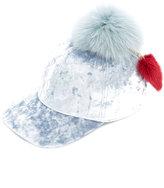 Federica Moretti fur pom pom hat - women - Cotton/Fox Fur/Mink Fur/Spandex/Elastane - One Size
