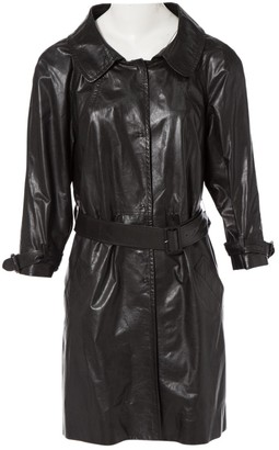 Prada Black Leather Trench Coat for Women