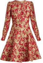 Valentino Floral-brocade long-sleeved woven dress