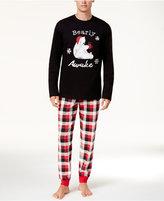 Family Pajamas Men's Buffalo Plaid Bearly Awake Pajama Set, Created for Macy's