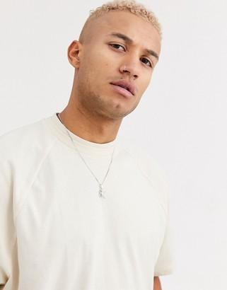 BEIGE Asos Design ASOS DESIGN oversized raglan t-shirt with double neck detail in