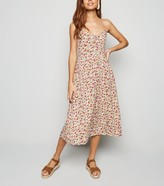 New Look Floral Lace Up Front Midi Dress