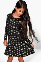 Boohoo Girls Star Print Skater Dress