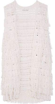 Alice + Olivia Weiss Fringed Open-Knit Silk-Blend Vest