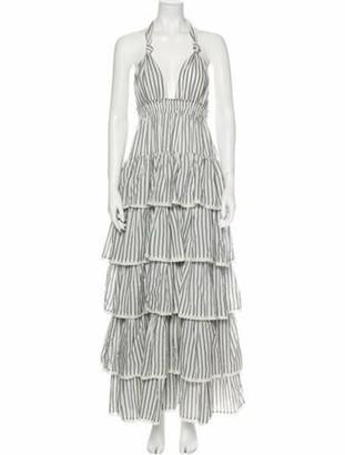 LoveShackFancy Striped Long Dress Grey