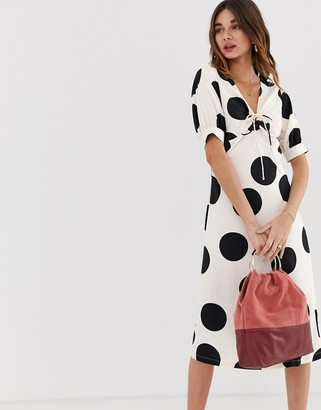Lost Ink a line midi dress with tie front in spot print-White