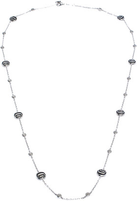 Damiani Damianissima Onyx Diamond Silver Long Station Necklace