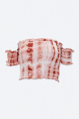 Forever 21 Smocked Tie-Dye Crop Top