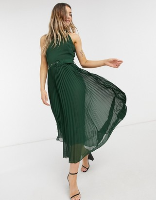 Style Cheat belted high neck pleated midi dress in forest green