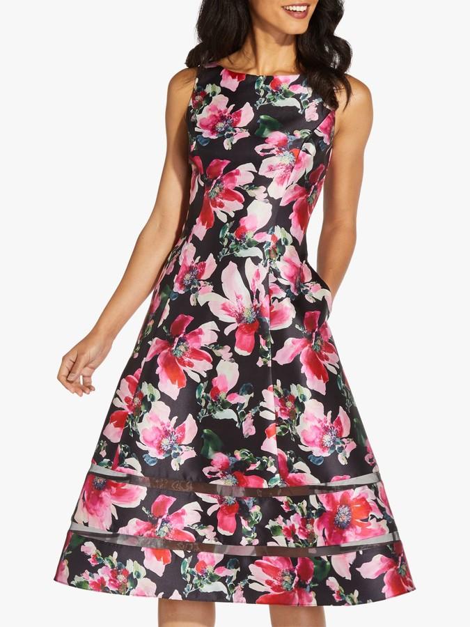 Adrianna Papell Mikado Floral Knee Length Dress, Black/Pink