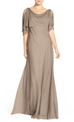 Jenny Yoo Devon Glitter Knit Gown with Detachable Capelet
