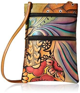 Anuschka Women's Leather Hand Painted Double Zip Travel Crossbody Bag