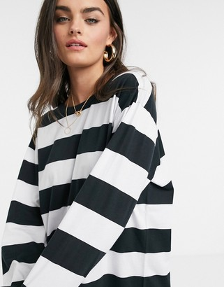 ASOS DESIGN oversized t-shirt dress with long sleeve in black and white stripe