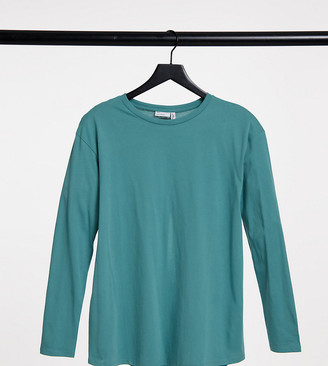 ASOS DESIGN Maternity long sleeve t-shirt with split back in teal