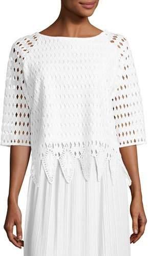 Joan Vass Woven Lace Top, White, Petite