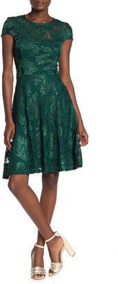 Marina Lace Cap Sleeve Fit & Flare Dress